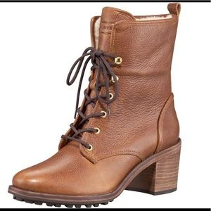 Hunter Shearling Marisa leather ankle boots 7
